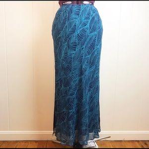 Express Silk Botanical Leaf Print Maxi Skirt